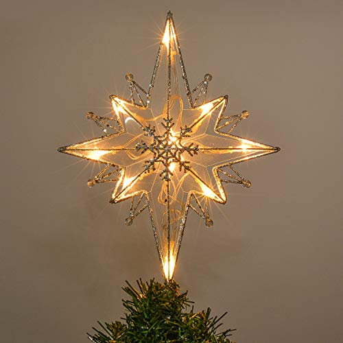 - Valery Madelyn 13.5 Inch Pre-Lit Frozen Winter Silver White Christmas Tree Topper, Metal Tree Top Star with 10 Warm LED Lights, Battery Operated (Not Included)