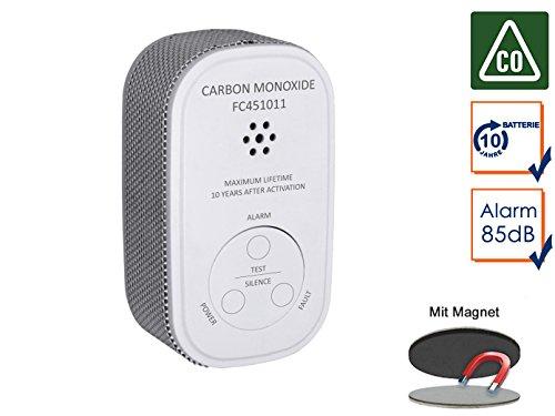 Elro - Detector de Monóxido de Carbono con Batería DE 10 Años, Detector de Monóxido de Carbono, 10 Años Sensor con Práctica Easy & Clean magnético Montaje: ...