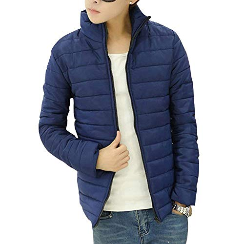 Quilted Jacket Men's Long Sleeve Collar Stand-Up Jacket Apparel Down Warm Parka Hooded Jacket Winter Jacket Packable Ultra-Light Down Jacket Marineblau