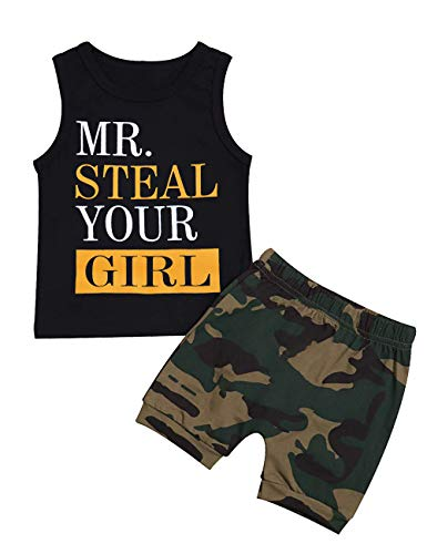 Toddler Baby Infant Boy Clothes Mr Steal Your Girl Vest +Camouflage Shorts Summer Outfit Set(18-24Months)