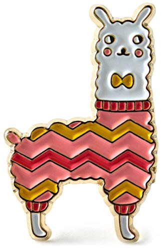 - Llama Enamel Lapel Pin Wearing a Knit Sweater with Matching Bow Tie - Accessory for Knitters and Crocheters Project Bags
