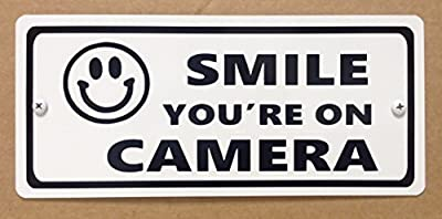 "Smile your'e on camera 4"" x 9"" aluminum security sign with smiley face"