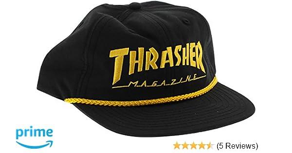 d689892392020 Amazon.com  Thrasher Magazine Rope Black   Gold Snapback Hat - Adjustable   Sports   Outdoors