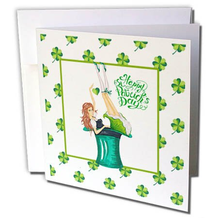 3dRose Uta Naumann Sayings and Typography - Happy St Patricks Day-Girl with Clover Pattern and Irish Motivational - 12 Greeting Cards with envelopes (gc_275280_2) -