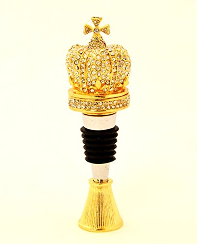 Ciel Collectables Crystalized Crown Trinket Box on Bottle Stopper, Hand Set All Clear Swarovski Crystal, Gold Plated