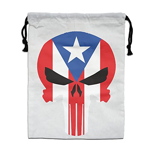 Reusable Puerto Rico State Skull Flag Bag Grocery Backpack White One Size