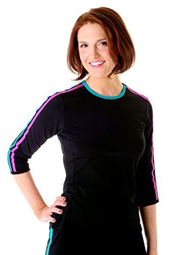 HydroChic Plus Size Swim n' Sport 3/4 Sleeve Shirt 4X In Black/Jade/Violet by HydroChic