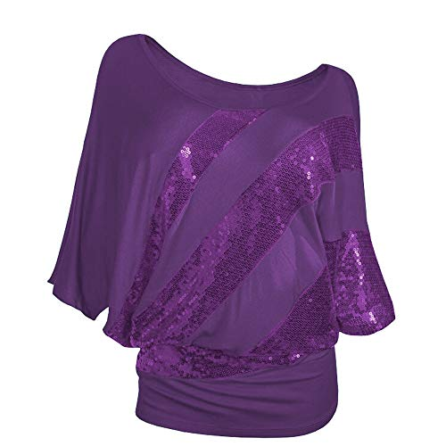 AMOFINY Clearance Women Sequin T-Shirt Top Cold Shoulder Blouse Tee Plus Size ()