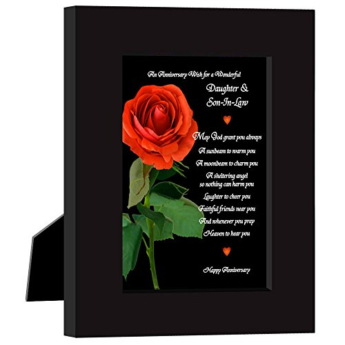 Anniversary Gift for Daughter & Son-In-Law, Red Rose Design Card with Poem Frame from Mom and/or Dad