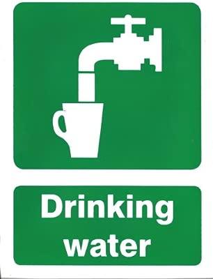 Agua potable con texto en inglés señal de vinilo adhesivo de ...