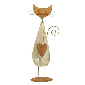 CAPRILO Figura Decorativa de Madera Gato Corazón. Adornos y ...