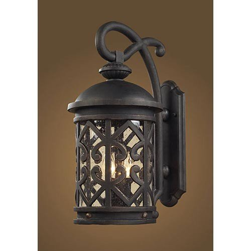 Elk Lighting 42061-2 Tuscany Coast 2 Light Medium Transitional Outdoor Wall Lamp Lighting Fixture, Weathered Charcoal Black, Clear Seeded Glass, (Transitional Black Medium Wall)
