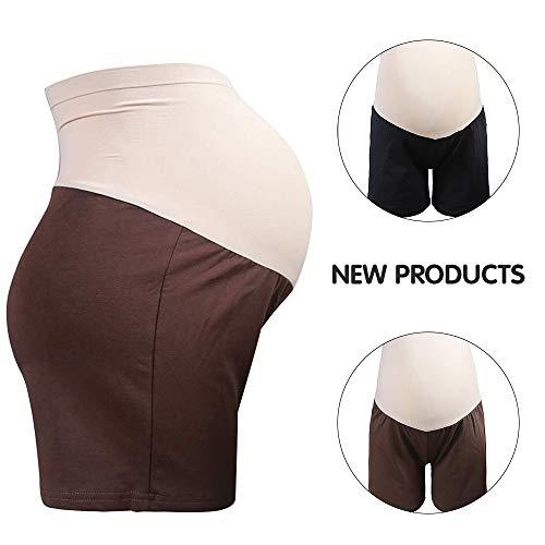 GD0001 Maternity Boyshort,Cotton Over Bump Maternity Shorts Pants for Pregnant Women (L, Coffee)