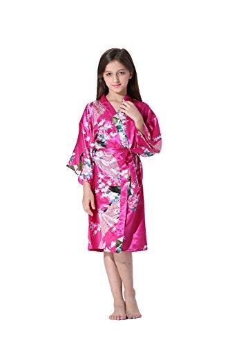 b54e00529e Vogue Forefront Girls  Peacock Flower Print Satin Kimono Robe Bathrobe