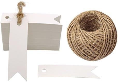 G2PLUS 100Stk. Kraftpapier Etiketten Tags 7 cm * 2 cm Geschenkanhänger Anhänger Etiketten mit Jute-Schnur 30 Meter (Weiß)