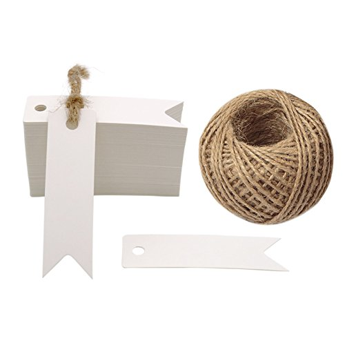 White Gift Tags, G2PLUS 100 PCS Paper Hang Tags with String, Craft Gift Tags, 7 cm x 2 cm Mini Size Flag Tags, Wedding Favor Tags with 30 Meters Jute Twine (White)