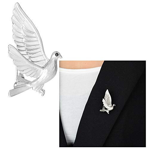 Fashion Animal Dove Bird Brooch,Black Zircon Flight Peace Pigeon Brooch Pin for Women Girls Party Gifts (Silver)