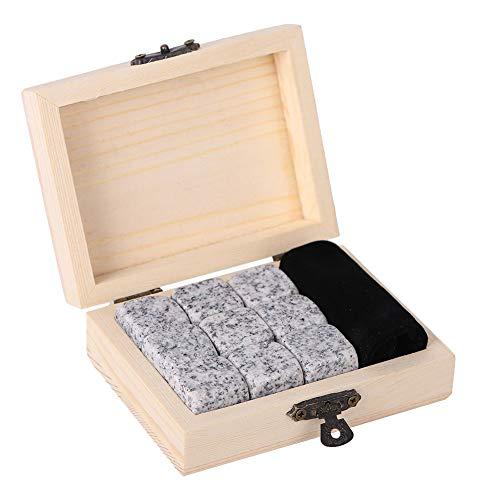 Whisky Stones, 9 Pcs Whisky Chilling Rocks,Wine Chiller Stones, Bar Home Drink Chiller Stones Rocks Reusable Wooden Box Packaging (Sesame White)