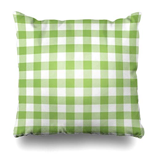 HomeOutlet Throw Pillow Cover Check Green Pattern Plaid Orange Towel Retro Checkered Pastel Pillowcase Square Size 16 x 16 Inches Home Decor Sofa Cushion Case
