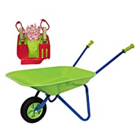 Family Games Little Moppet Kids Wheelbarrow & Tool Belt Bundle for Childrens Gardening - Colors May Vary
