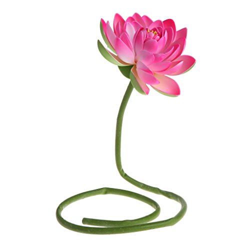 Tebatu Artificial Fake Flower Lotus Water Lily with Rod Plants Garden Pond Vase Decor - Pink ()