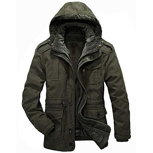 (Men Warm Parkas Heavy Wool Men Winter Jacket Men 2 in 1 Coat Size M-4XL,Khaki,XXXL)