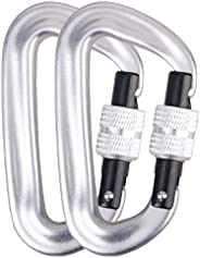 Azarxis 12KN Aluminium Wire Gate Carabiners Clips Buckle D-Ring Locking Heavy Duty Lightweight 2646 Pound Rati