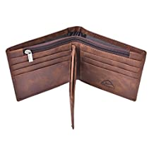 Hopsooken Mens Wallet RFID Blocking Slim Vintage Leather Bifold Wallet Card Holder (Coffee)