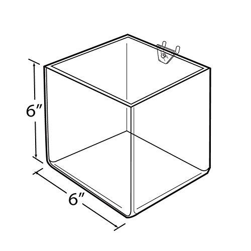 Lot of 4 New Clear cube shaped bin for slatwall/Pegboard 6'' W x 6'' D x 6'' H