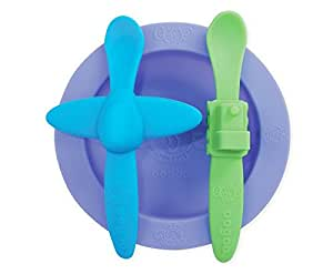 oogaa Baby Mealtime Set – Easy Clean, Baby Safe – Purple, Blue, and Green