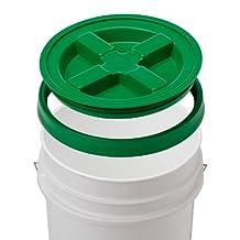 5 Gallon White Bucket & Gamma Seal Lid - Food Grade Plastic Pail & Gamma2 Screw Seal Tight Lid (Green) by Gamma2