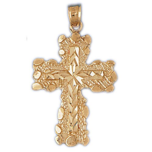 (14K Yellow Gold Nugget Cross Pendant - 34 mm)