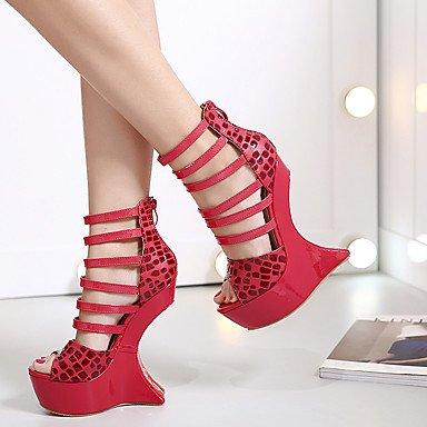 LvYuan Mujer-Plataforma-Confort Innovador Zapatos del club-Sandalias-Vestido Fiesta y Noche-Ante-Negro Rojo Red