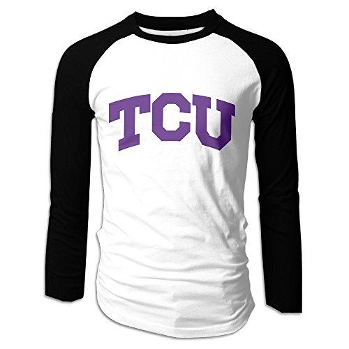 Creamfly Mens Texas Christian University TCU Long Sleeve Raglan Baseball Tshirt M