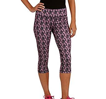 Women's Allover Printed Capri Tights Workout Gym Yoga (Large)
