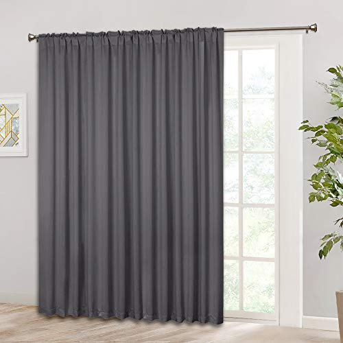 (RYB HOME Blackout Patio Door Curtain, Adjustable Vertical Blind for Patio Sliding Glass Door, Thermal Insulated Solid Bedroom Window Drape, Wide 100 x Long 84 inch, Grey)