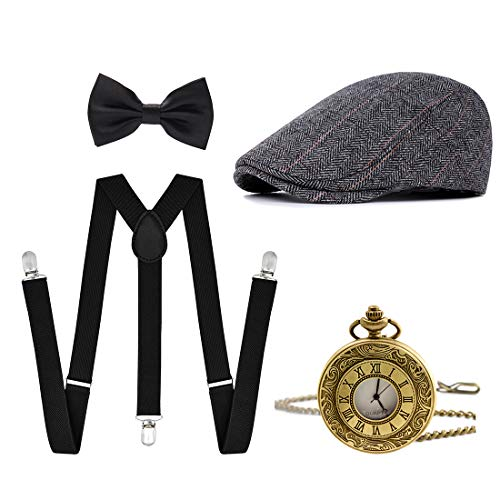 Ziyoot Men's 1920s Accessories Gatsby Gangster Costume Set Gangster Beret Y-Back Suspender -