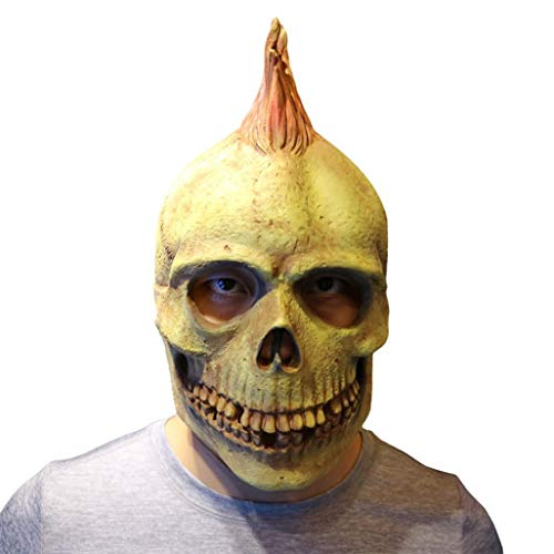 XILALU Scary Halloween Latex Head Mask, Punk Style Melting Face Adult Skull Party Cosplay Costume Props Walking Dead ()