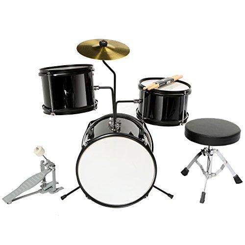 lagrima-12-3-piece-complete-junior-drum-set-cymbal-child-kids-kit-w-stool-sticksblack