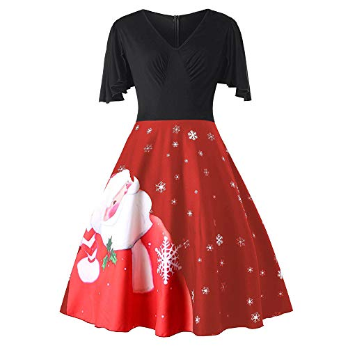 Sunhusing Fashion Womens Plus Size Santa Claus Print V-Neck Short Sleeve Gown Party Vintage Swing Flare Dress