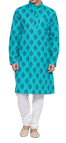 ShalinIndia Men Cotton Long Kurta Nehru Collar 3 pockets-Turquoise-Size 40 Inch (2)