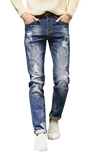 Wxian Men's Retro Casual Stitching Repair Frayed Jeans