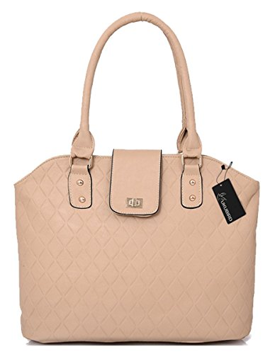 handle Kukubird Straps Quality Grid Top Pattern High Abella Tote Handbag Beige Two Detachable Faux Leather Shoulder Design rpTwrOq