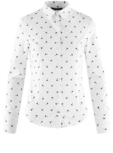 oodji Femme 1079q Ultra Chemise Basique Blanc en Coton wv0wqOar5
