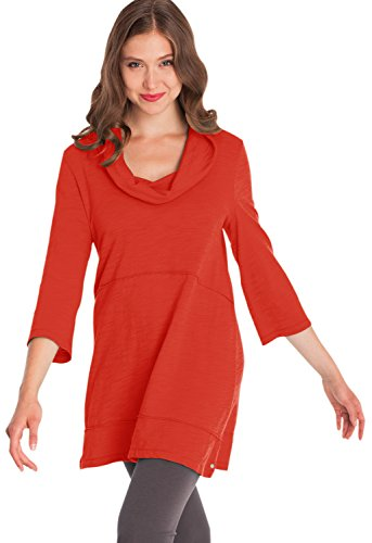 Neon Buddha Women's Loose 3/4 Sleeve Shirt Female Jersey Knit Cotton Tunic with Cowl Collar,Artist Coral,Large ()