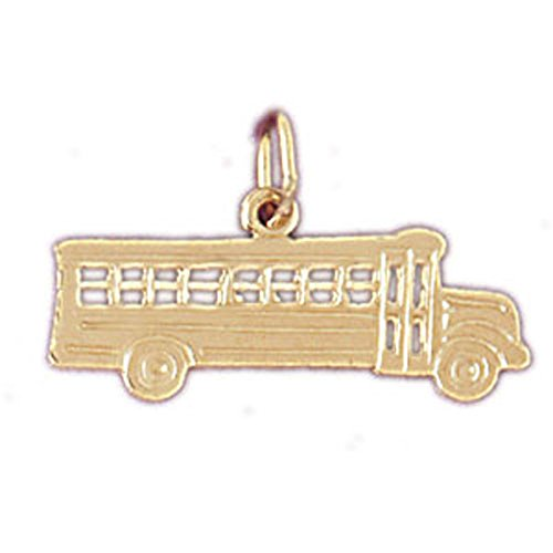 Jewels Obsession Bus Pendant   14K Yellow Gold Bus Pendant - 14 mm