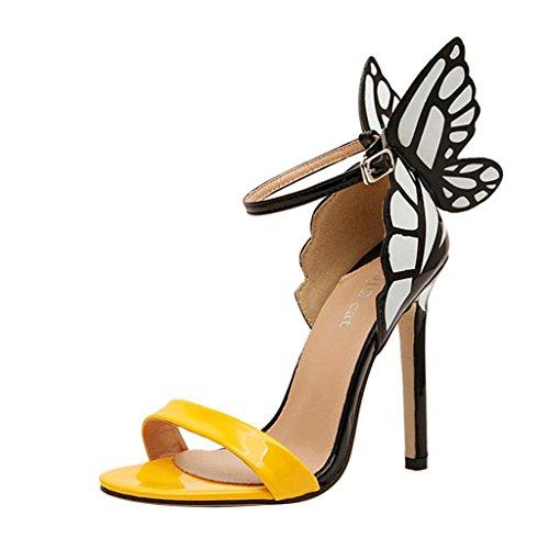 Hee Grand Damen Sommer schleife Schmetterling Schuhe Sandalen Pumps Abendschuhe CN 36 Gelb