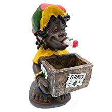 Rockin Gear Ashtray - Rasta Jamaican Figurine Marijuana Weed Leaf Cannabis Stashbox - Funny Novelty Ashtray and Smoking Accessory