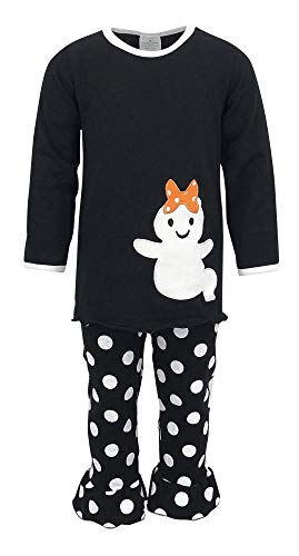Unique Baby Girls 2 Piece Ghost Halloween Outfit (4T, Black) -