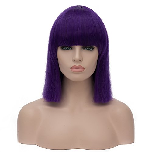 """Similler Women Short Bob Synthetic Cosplay Purple Wigs High Temperature Fiber Hair with Fringe/bangs Cosplay Wig Cap 15"""""""